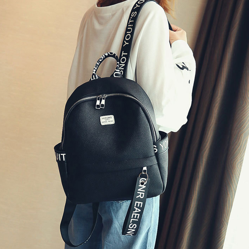 Fashion Women PU Leather Backpacks Letters Printed Travel Backpack White Orange Black free shipping new 2017 fashion pu white black with rose butterfly pattern student backpack cheap backpacks bb033