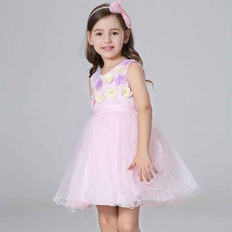 c78992498 Vestido de princesa Nimble para niñas vestido fino ligero de Organza  apliques flores fajas vestido para fiesta boda blanco rosa chicas vestido  en Vestidos ...