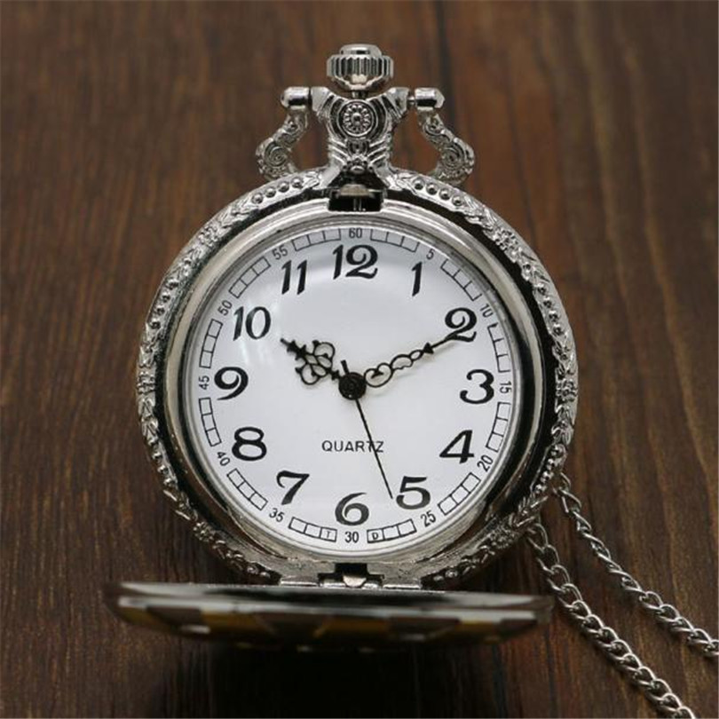 Clock Fashion Gift Men's Pocket Watch 2017 New Good Quality  100% Brand New Black Alloy Roman Numerals Quartz Analog 1213d40 antique half hunter roman numbers quartz pocket watch carving engraved fob clock men women gift with necklace