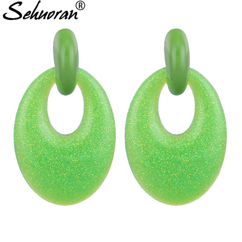 Sehuoran Zinc Alloy Resin Pendients Drop Earrings For Women Big Jewelry Simple Europe Dangle Earrings Female Brincos Wholesale