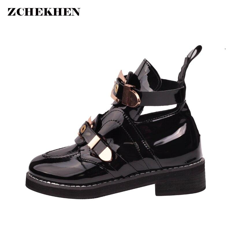 En cuir verni Femmes Cheville Bottes talons bas boucle rivet en métal Martin bottes creux femme chaussures bottes de punk femmes