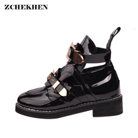 Patent Leather Women Ankle Boots Low Heels Buckle Rivet Metal Martin Boots Hollow Woman Shoes Punk
