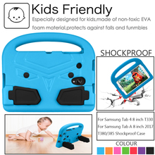 цена на Kids Children Shockroof Case For Samsung Tab 4 T330 Tab A 8.0 inch SM-T380 T385 2017 EVA Foam Tablet Case Handle Stand Cover