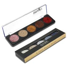 IMAGIC Brand 5 Colors Shimmer Eyeshadow Palette Powder Matte Diamond Glitter Eye Shadow Glitter Blush Makeup Set for Beauty Z3