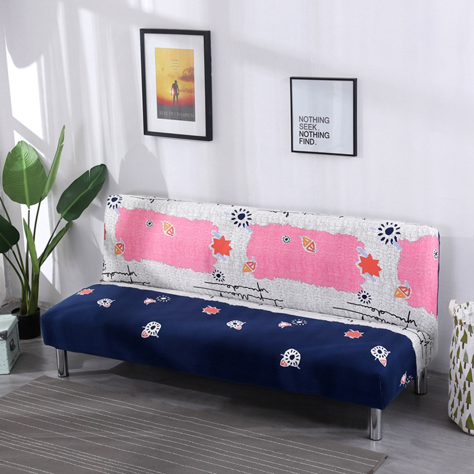 New Cheap Furniture: New Cheap No Handrail Sofa Bed Covers Blue And Pink