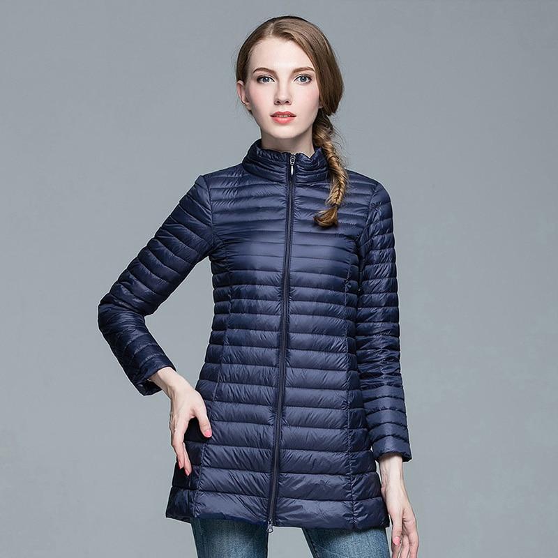 BOoDinerinle 2017 Ladies Long Winter Warm Coat Women Ultra Light 90% White Duck Down Jacket Women's Parka Female Jakcets YR034