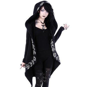 Gothic Casual Black Women Loose Cotton Hoodie