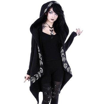 Rosetic толстовки Готический повседневное Прохладный шик черный цвет; большие размеры для женщин кофты свободные хлопковые с ш