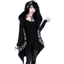 Rosetic Hoodies  Gothic Casual Cool Chic Black Plus Size Women Sweatshirts Loose Cotton Hooded Plain Print Female Punk