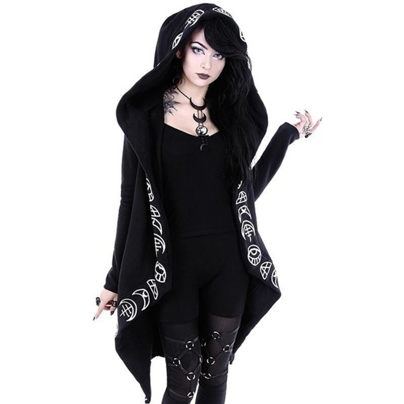 Rosetic Hoodies Gothic Casual Cool Chic Black Plus Size Women Sweatshirts Loose Cotton Hooded Plain Print Female Punk Hoodies