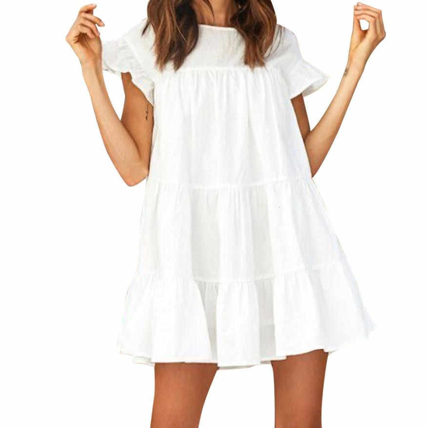 fc41183bdfd8 Summer Ruffle Short Sleeve Mini Party Dress Women Flare Mini Short Dress  Beach Boho Sundress Dresses