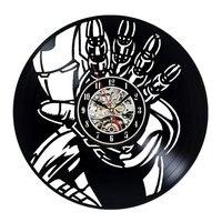 철 남자 벽 시계 현대 디자인 아이 시계 3D 스티커 장식 매달려 비닐 CD 기록 벽 시계 홈 장식 침묵