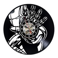 Iron Man Wall Clock Modern Design Kids Clocks 3D Stickers Decorative Hanging Vinyl CD Record Wall Watch Home Decor Silent