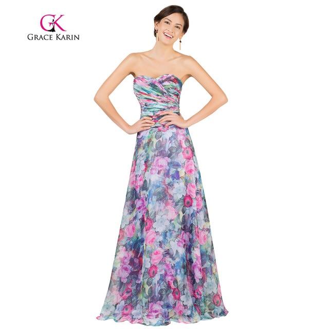 Grace Karin Floral Print Evening Dress 2017 Chiffon Sweetheart