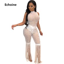 Women Sequined Sheer Mesh Jumpsuit Sleeveless Bodycon Romper Tassel Pants Clubwear Sexy Club Outfit Party