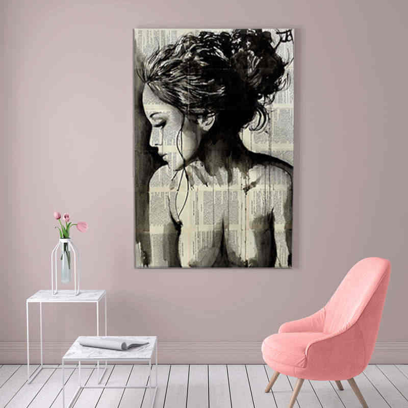 Newspaper Style Modern Sexy Side Face Girl Painting Abstract Figures Oil Painting For Home Decor