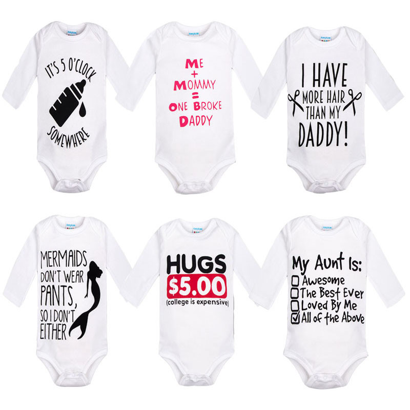 3bed19c4c Newborn Baby clothes overalls Long Sleeve I love mom dad Cotton bebe ...