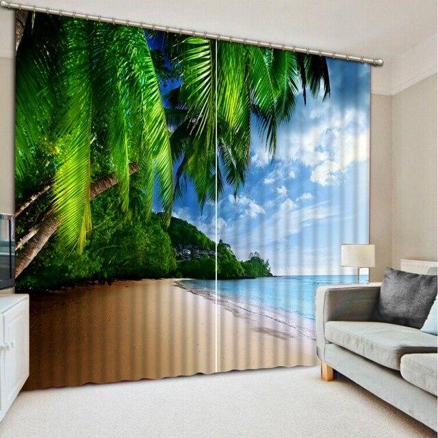 Vorhänge Wohnzimmer Moderne Kokospalmen Strand Landschaft Foto Malerei  Blackout Vorhänge Für Schlafzimmer Dekoration