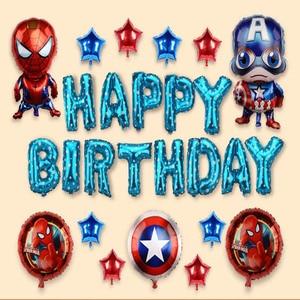 Image 3 - 85pcs/lot Superhero Avengers Kids Birthday Party Decorations Ironman Spiderman Helium Foil Balloons Babyshower Kids Toys Gift
