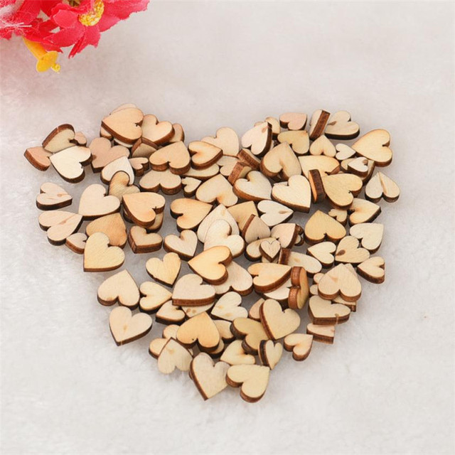 100 Pcs Wood Hearts