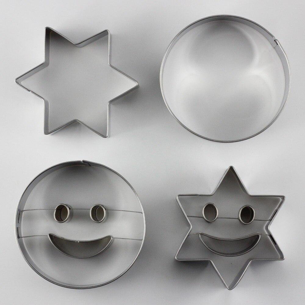 2 Unids Ronda Forma de Estrella Sonrisa Cara de La Galleta Cortadores de Galleta
