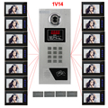 "Home security Video Intercom System  7"" LCD Video Door Phone Touch Key Panel IR Home Building Video Doorbell For 14-Apartments"