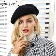 Simplee invierno elegante boina de lana de las mujeres de calle casual  caliente boina sombrero otoño Fiesta club mujer boina som. 4d13be3e274