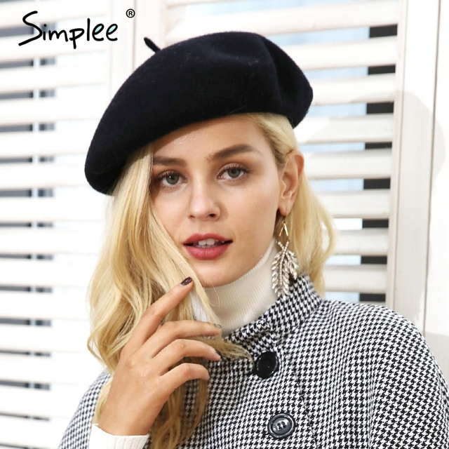 Simplee invierno elegante boina de lana mujer casual streetwear boina caliente gorra otoño Fiesta club mujer boina beanie 2018