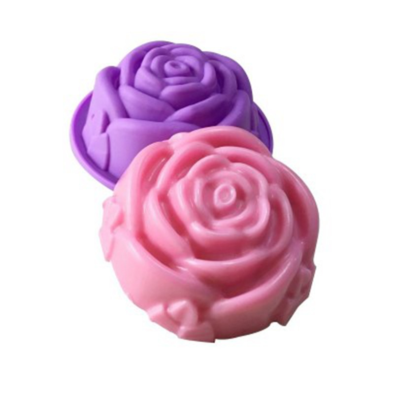 Rose Flower Shape Silicone Soap Mold Round Chocolate Tray Craft Cake Form Homemade Soap Making DIY Candle Moulds