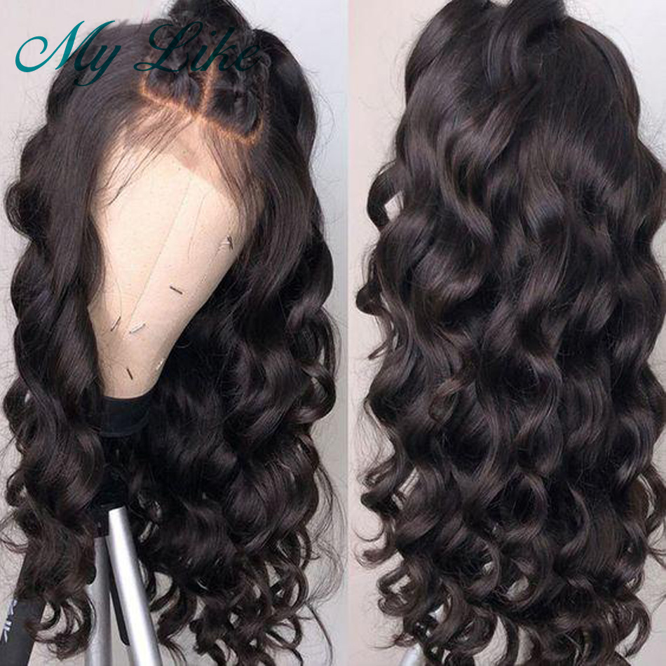 My Like Loose Wave Human Hair Wigs 360 Lace Frontal Wig Pre plucked with Baby Hair Brazilian Remy Lace Front Wig for Women Black(China)