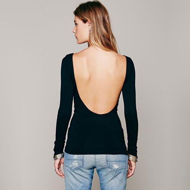 2b7f2e8118 New Women Bodycon Summer T shirt Women Sexy slim fit Deep V Back Backless  Long Sleeve Top Tee Shirt CW0001