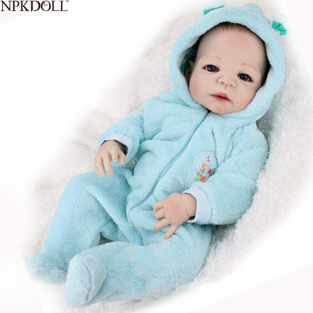 NPKDOLL pleine Silicone vinyle corps Reborn bébé poupée 22 pouces 55 cm réaliste en gros bébé garçon poupée cadeau Bebe Reborn menino