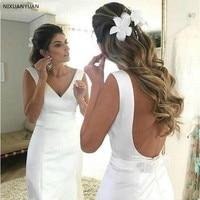 Satin Simple Mermaid Wedding Dresses 2019 Sexy V Neck Backless Beach Bride Dresses Wedding Gown Vestido De Noiva Robe De Mariage