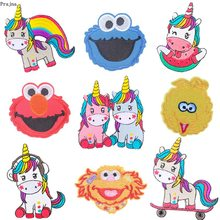 Prajna Cartoon Unicorn patches Sesame Street Iron On Embroidery Rainbow patch Appliques Clothing DIY For kids T-shirt