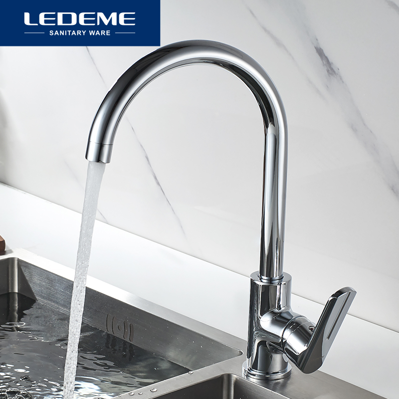 LEDEME Kitchen Faucet Modern Single Handle Mixer Sink Tap Hot And Cold Water Deck Mounted Chrome Kitchen Faucets Taps L4066