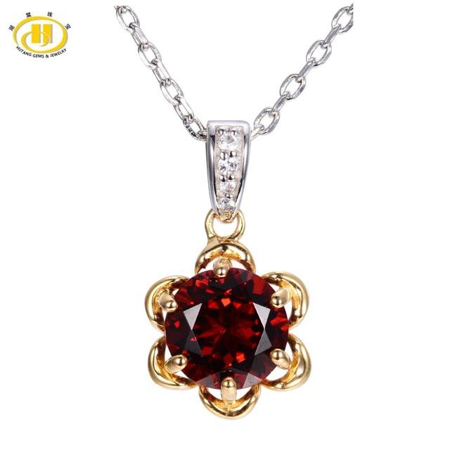 Hutang 2.44ct Sólidos 925 Sterling Silver Natural Garnet & Topaz Colar Pingente Flor Redonda 8mm Gemstone Fine Jewelry 11.11