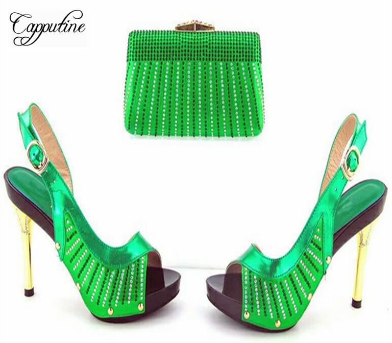 Capputine African Decorated With Rhinestone Shoes With Matching Bags For Women Italian Ladies Shoe And Bag Set For Party 5Colors new fashion green color decorated with diamonds african shoes and bag set for party in women italian matching shoe and bag sets