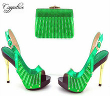 Capputine African Decorated With Rhinestone Shoes With Matching Bags For Women Italian Ladies Shoe And Bag Set For Party 5Colors