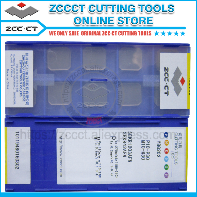 10pcs ZCC face milling cutter SEKR1203AFN YBG202 ZCCCT carbide cutting tool lathe blade for steel and