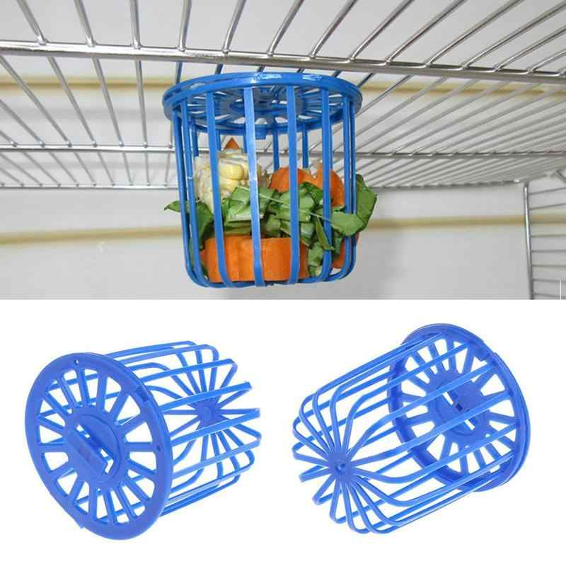 Plastic Bird Parrot Feeder Cage Basket Fruit Vegetable Holder Cage Accessories Hanging Basket Container Toys Pet Bird Supplies