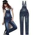 Nuevas mujeres del verano del dril de algodón Jumpsuit Vintage Denim body Catsuit honda correas pantalones Bodycon mamelucos Jeans en general