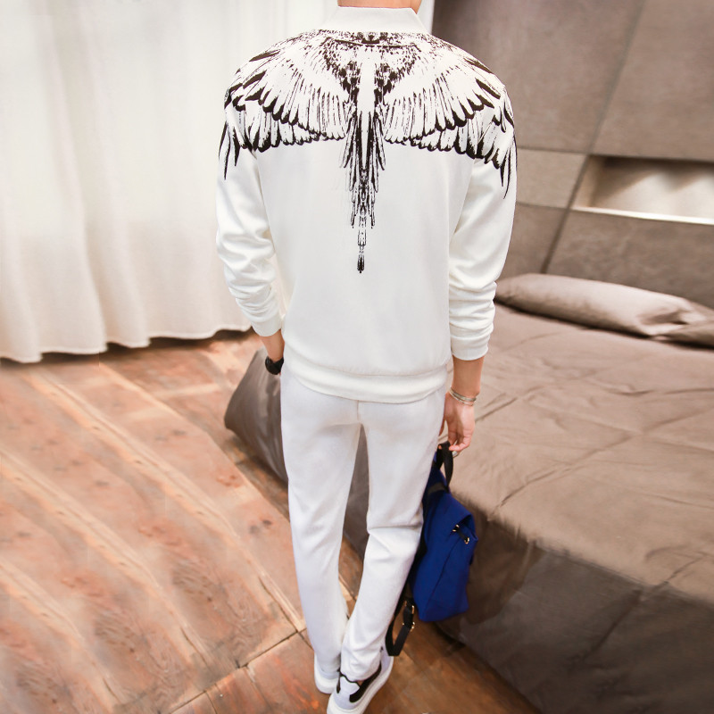 Herren Winter Casual Wing Print Sportanzug Set Hoodies Sweatshirt Hip - Herrenbekleidung - Foto 4