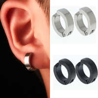 1 Pair Men Stainless Steel Non-Piercing Clip On Ear Stud Cuff Earrings