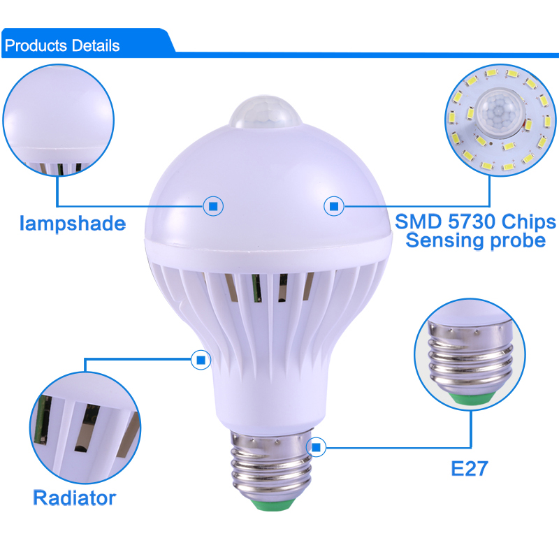 Lights & Lighting ... Lighting Bulbs & Tubes ... 32583385912 ... 2 ... E27 Led Bulb with Motion Sensor Light 220V 110V PIR Bulbs Smart Lamp Child Night Light Ampoule Bombillas 5W 7W 9W Home Lighting ...