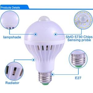 Image 2 - E27 หลอดLedพร้อมMotion Sensor Light 220V 110V PIRหลอดไฟสมาร์ทเด็กNight Light Ampoule Bombillas 5W 7W 9 บ้าน