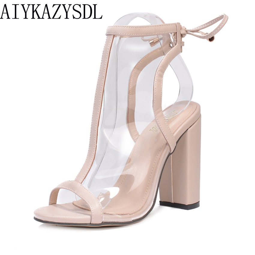 AIYKAZYSDL Women Clear Transparent Sandals Open Toe Summer Bootie Ankle Boots Gladiator Pumps Silngback Thick Square High Heel aiykazysdl summer women sandals thick