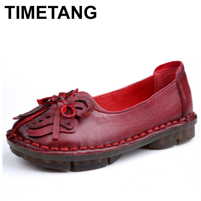 TIMETANG New Autumn Soft Soles Handmade Women's Flats Shoes Vintage Sewing Women Genuine Leather Shoes C326 vintage embroidery women flats chinese floral canvas embroidered shoes national old beijing cloth single dance soft flats
