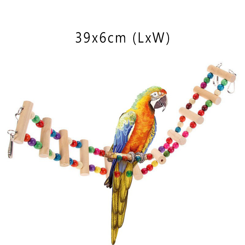 Bird Supplies Pet Products Adeeing Wooden Banana Shape Swing Bird Parrot Cage Bell Hanging Climb Chew Toy