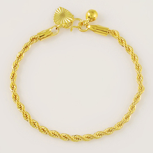 24K Gold Plating Rope Chain Bracelet For Women Accessories Jewelry Gifts Yellow Gold Color Bracelet Femme High Quality trendy jewelry 24k gold filled chain bracelet for women men fine jewelry accessories gifts female bracelet