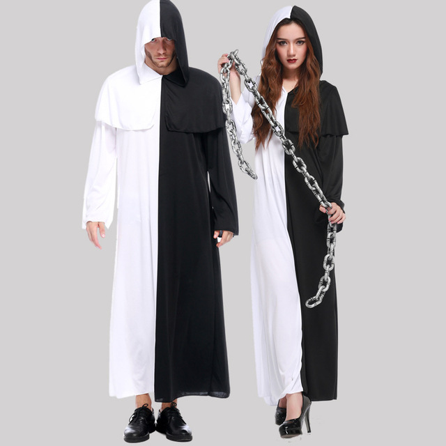 umorden purim carnival halloween costumes for couple men women scary black and white sorcerer sorceress ghost